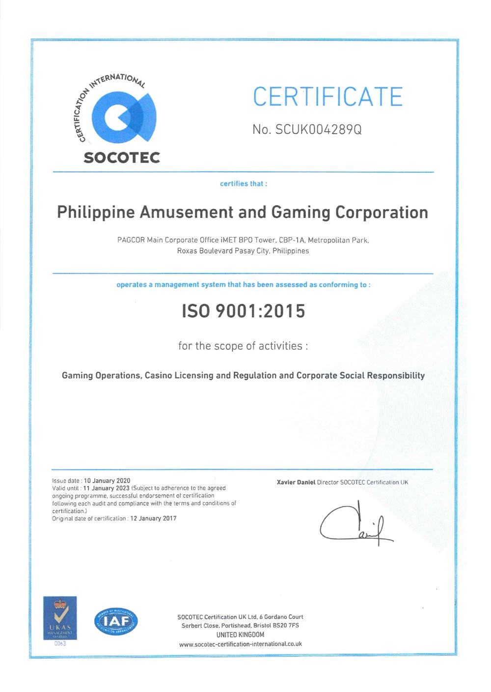 PAGCOR recertified to ISO 9001:2015