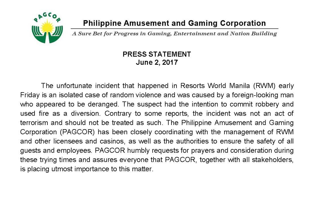Press Statement on the Resorts World incident